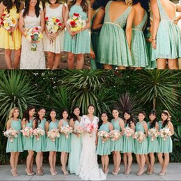 Wholesale Dessy Bridesmaids - Cheap Bridesmaid Dresses Open Back Short Lace Bridesmaid Dress 2016 Knee Length Sexy Maid Of The Honor Dessy Formal Wedding Party Gowns