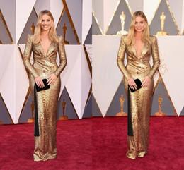Wholesale Long V Neck Silk Dress - Elegant 2016 Oscar Margot Robbie Gold Evening Dresses Sexy Deep V Neck Long Sleeve Bling Sequined Celebrity Red Carpet Prom Dresses