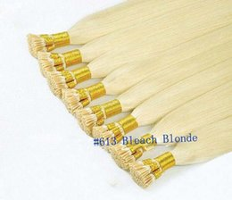 Wholesale Micro Bond Hair Extensions - Cheap Double Drawn Human Remy Silky Straight Blonde Keratin Stick I Tip Pre Bonded Micro Fusion Hair Extensions Salon Supply Tangling Free