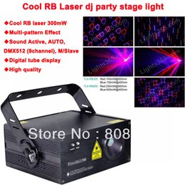 Wholesale Multi Effects Light - RB laser 300mW DMX512 Laser Projector Stage Lighting Multi pattern effect light DJ Disco Party Xmas Lights Show Digital DMX D90