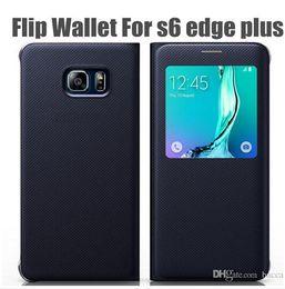 Canada Noir / Or blanc / bleu profond / or Voir Smart Window Flip En Cuir Case Cover Dormancy Fonction Pour Samsung Galaxy S6 Edge Plus cheap deep blue cover Offre