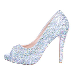 Wholesale New Stock Shoes - Wedding Shoes New Fashion Luxury Dills Rhinestones Prom Evening Party Shoes High Heel Bridal Shoes Free Shipping In Stock SS004