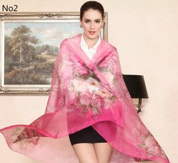 Wholesale Hangzhou Scarf - Hight quality!100% china hangzhou Mulberry silk scarf of the new fashion for women sarongs printed 175cm*110cm super long pashmina 5 colors