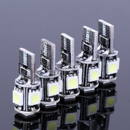 Wholesale Smd Led For Car - 20pcs lot Led T10 5 LED NO Error Canbus W5W 194 5050 SMD Error Free White Wedge Car Led Light Auto Bulb blubs Parking For Ford Focus 2