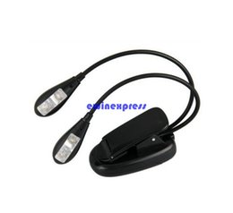 Wholesale Mini Led Clip Light - Mini Clip on Reading Book Lights Lamp 2 Dual Arm 4 LED flexible clip Music Stand laptop kindle e book lights night working