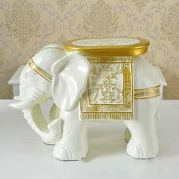 Wholesale Furniture Goods - Good price home furniture Elephant shape Shoe stool footstool,Cute Shoes changing stool Lucky XL elephant red color creative resin ornaments