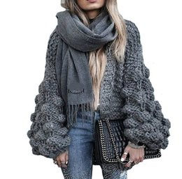 Wholesale Chunky Sweaters - 2017 Autumn&Winter Knitted Crochet Sweater for Women Chunky Oversize Cardigan Coat Open Female Sweaters Cardigan Women Knitwear