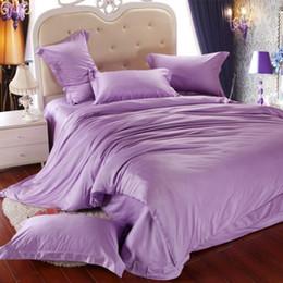 Argentina Juego de cama de lujo púrpura claro queen king size lila funda nórdica cama doble en una bolsa de sábanas de lino edredón doona sábana tencel 4pcs ropa de cama Suministro