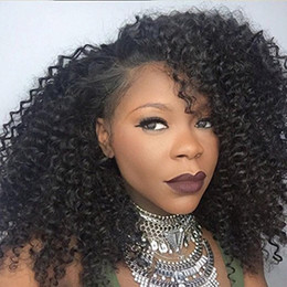 Melhores perucas de renda curta on-line-Best quality Short Black Curly wigs Synthetic Ladys' Hair Wig Afro Kinky Curly Africa American Synthetic Lace Front Wig for Black Women