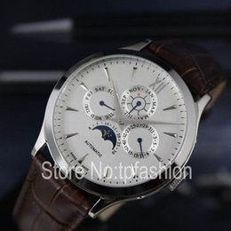 Wholesale Moon Watch Design - Hot Top Luxury Automatic Mechanical Self Wind Watch Men Design Gold Silver Dial Leather Strap Brand Dress Chronometer Moon Phase Clock 5570