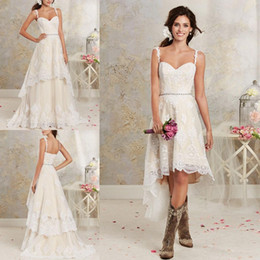 Wholesale Two Piece Wedding Skirt - Two Pieces Wedding Dresses 2017 New Sexy Spaghetti Lace A Line Bridal Gowns With Hi-Lo Short Detachable Skirt Country Bohemian Wedding Gowns