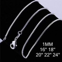 "silver box chain 18 Coupons - 925 Sterling Silver plated Necklace Chain 16""18""20""22""24"" 1mm Thin Silver Plated Box Bike Pendant Chain For women and Men"