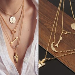 Wholesale Wings Charm Cheap - 2015 Women Cheap Jewelry New lariat Necklace Gold Multi Layer Necklace Sexy Circular Arrow Angel Wing Pendant Necklace