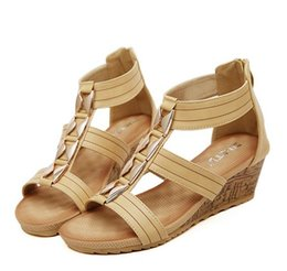 Wholesale Bohemian Shoes - 2016 Bohemian Pink Beige T Strap Wedge Heel Gladiator Sandals Women Shoes Size 35 To 40 41