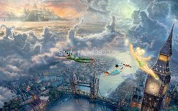 Wholesale Thomas Kinkade Landscape Paintings - 2015 Real Cuadros Quadros Home Decor for Living Room Thomas Kinkade Canvas Print Peter Pan Picture Oil Painting By Unique Gift