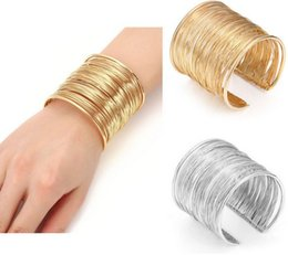 Wholesale 18k Gold Bracelet Thin - Punk Wire Metal Circle Cuff Bangle Bracelets Split Ring Coil Wire Thin Jewelry Hammered Bunch Cuff Bracelet Bangle