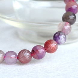 Wholesale Super Melody Stone Bracelets - Wholesale Natural Genuine Multi Colors Mix Clear Purple Super Seven 7 Finish Stretch Bracelet Round Beads Melody Stone Gemstones 6mm 04056