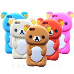 Wholesale Rilakkuma Iphone 4s Cases - Wholesale-3D Brown Rilakkuma Bear Silicone Back Cover Case For iPhone 6 5 5S 5C 4 4S