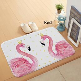 Wholesale Black Swan Blue - Cute Mat Flamingo Bird Carpet Polyester Rug Swan Non-slip Floor Mat Absorbent DoorMat Cute For Bedroom Kitchen and Toilet Door