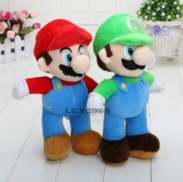 Wholesale Super Mario Plush Figures - 2016 Hot Sales Brand 2pcs lot 10'' NEW Arrival SUPER MARIO Bros PLUSH MARIO LUIGI PLUSH DOLLS Toys