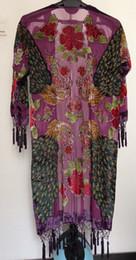 Frete grátis - pavão de veludo de seda casaco kimono-luz roxo de Fornecedores de iluminação de veludo