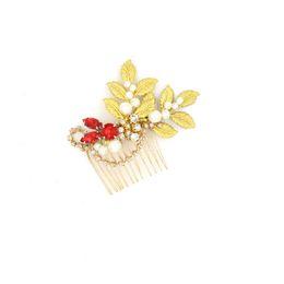 Cabeza izquierda online-Granos de las hojas de oro Peinetas de pelo Accesorios para el pelo de la boda Granos rojos Baroque Head Piece BRICOLAJE barato Accesorios nupciales Envío gratis 2016 Nuevo