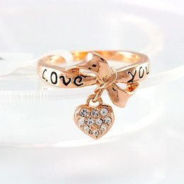 Wholesale Love Letter Bow Ring - Fashion classic LOVE letter LOVE YOU bow ring jewelry inlaid with crystal lovely heart rings