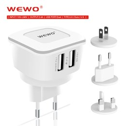 Wholesale Usb Power Adapter Uk - WEWO USB Wall Charger EU UK US Plug Samsung Chargers Power Adapter for iPhone 4 5 6 7 with retail package free shipping