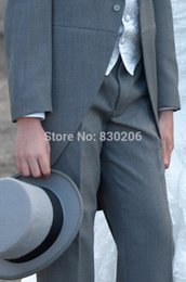 Wholesale Mens Vests Ascot Tie - Wholesale-2015 New Handsome Ascot Grey Tailcoat Mens Suits custom Made Wedding Suits Bridal Groom Suits Tailcoat(Jacket+Pants+Vest+Tie)