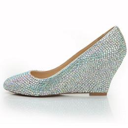 Wholesale Crystal Bridal Wedges - Rhinestone Wedge Heel Wedding Bridal Shoes Fashion Handmade Prom High Heels AB Color Crystal Round Toe Fashion Nightclub Pumps