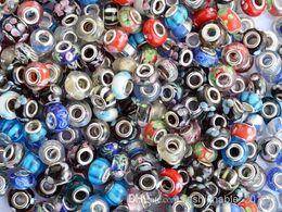 Wholesale Glass Fit Bulk - Wholesale Bulk Mixed Murano Glass Loose Silver Plated Core Beads Fit Bracelet European 5mm hole #B6 FREE