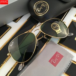 Wholesale Sunglasses Aviators Men - Excellent Quality Ray Aviator Sunglasses Bans Metal Frame Glass Lenses Brand Designer Sunglasses for Man Women Gafas de sol 55 58 62mm
