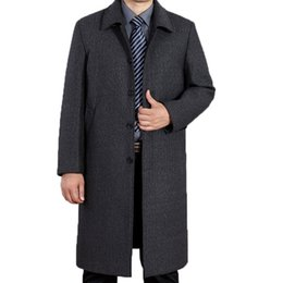 Wholesale Trench Coat Men 4xl - Fall-free shipping Winter Wool Coat Men Casual Breasted Men's Overcoat Long Thick Mens Trench Coat Wollen Jacket Plus Size M-4XL165