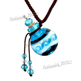Wholesale Glass Pendant Perfume Bottle Necklace - Round Glass essential oil diffuser necklaces flowers vial pendant necklace aromatherapy pendant vintage perfume bottle pendant necklaces OB5