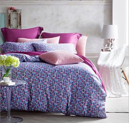 Wholesale King Size Bedding Collections - New Arrival High Grade French 60S Satin Flowers 4Pcs Bedding Suite AB Sides Design Home Collection Queen and King Size Very Beautiful
