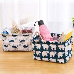 Wholesale Desktop Cute Box - Cartoon Linen Desktop Storage Box Home Cotton Organizer Baskets Jewelry Cosmetic Stationery Sundries Storage Baskets Cute Animal Tree Decor