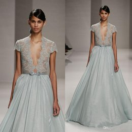 Wholesale Green Elie Saab - 2016 Sexy Cheap Formal Evening Dresses With Sleeves Mint Green Long Prom Party Dress Lace Runway See Through Elie Saab Celebrity Gowns