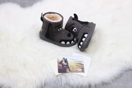 Wholesale Applique Patterns Kids - Kids ankle boots real leather cartoon pattern soft wool padded high quality cute boots Eu24-34 cost prices on wholesale