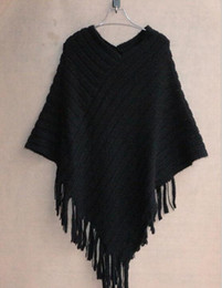 Wholesale Plus Size Sweater Poncho - Autumn Winter Women Sweaters Fashion Plus Size Blouse Cape Geometric Shawl Cotton Sweater Loose Bat Tassel Poncho Cape Coats