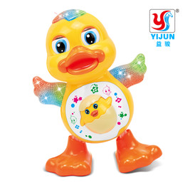 Wholesale Flash Electrical - YIJUN TOYS Baby Toys EQ Flapping Yellow Duck Infant Brinquedos Bebe Electrical Universal Toy for Children Kids 1-3 years old