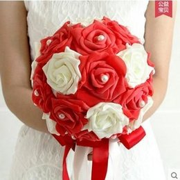 Wholesale Crystal Stems - 2016 Cheap White Bridal Bouquet Wedding Flowers Red Wedding Bouquets Artificial Flower Stem Flower Bouquets For Bride Free Shipping