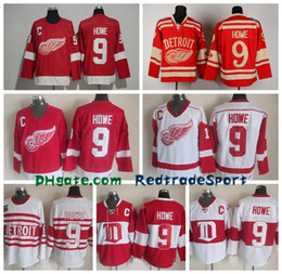 Wholesale Detroit Patch - Mens Throwback Detroit Red Wings #9 Gordie Howe Hockey Jerseys Home Red Vintage Winter Classic Red White Gordie Howe Cheap Stitched C Patch