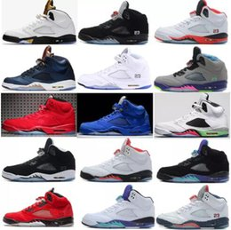 Wholesale Grey Rubber Bands - Air retro 5 V Olympic OG metallic Gold Tongue Man Basketball Shoes Black Metallic red blue Suede Fire Red Sport Sneakers
