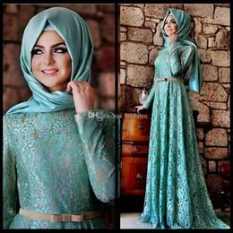 Wholesale Islamic T Shirts - 2018 Muslim Evening Dresses A Line Long Sleeves Mint Green Lace Hijab Islamic Dubai Abaya Kaftan Long Prom Party Gowns