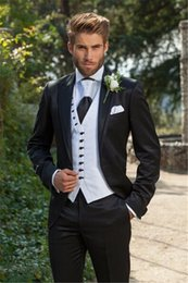 Wholesale Trajes Royal Blue - Jacket+Pant+Vest) Double Breasted Pinstripe Bussiness Men Suits Dark Royal Blue Groom Tuxedo mariage homme trajes hombre formal