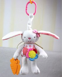 baby rattle ring Canada - Baby Rattles Ring Bell Baby Toy Plush Rabbit Crib Bed Hanging Animal Baby Dolls Newborn Teether Infant Doll Babies Stroller Cot