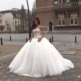 Wholesale Super Plus Size Wedding Gowns - New Luxury Sweetheart Ball Gown Super Fashion Wedding Dresses Lace Appliques Zipper Court Train Bridal Gowns Plus Size Garden Arabia BO8939