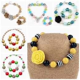 Wholesale Bubblegum Birthday Party - childrens jewelry sets chunky necklace bracelet for kids girls christmas gifts bubblegum beads jewellery toddler birthday party supplies 2pc