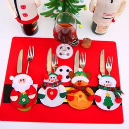 Wholesale Restaurant Linens Wholesale - Christmas Decoration Cutlery Suit Pockets Knifes Folks Bags Snowman Christmas Dinner Decoration Home Restaurant Decoration 001