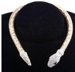 Wholesale Crystal Jewelry Designs - 2016 New Design hot sale Fashion Personality Luxury Rhinestone Snake chain necklace choker Statement jewelry for women